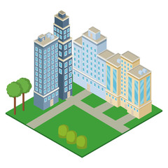 Isometric office buildings with park vector illustration graphic design