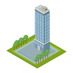 Company tower building isometric 3d vector illustration graphic design