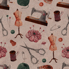 Seamless sewing pattern. Sewing machine, scissors, thread, reel, pins, needles, buttons. Hand-drawn watercolor kraft background
