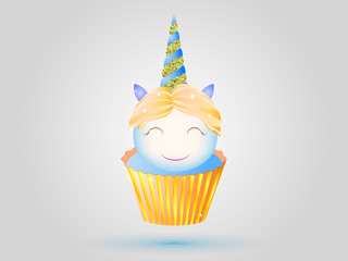 Cupcake with blue cream and unicorn with golden horn. Vector illustration