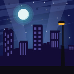 City at night cartoon vector illustration graphic design