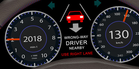 ps_28 ProgrammingScreen - adi54 AutonomousDrivingIllustration - english: wrong-way driver nearby - use right lane - car cockpit - 2to1 - g5954