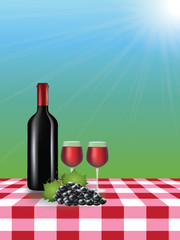 Wine bottle with glasses on picnic tablecloth, vector