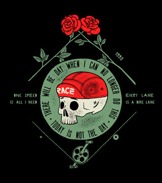 bicycle skull in cap, dead cyclist head and two roses - today is not the day