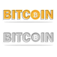 Bitcoin logo with its icon and logo isolated on white background. Symbol and logotype of crypto currency and online stock business