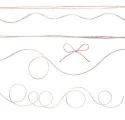 String twine rope loop bow isolated on white.