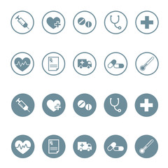 Round medical and pharmaceutical icon set in vector format