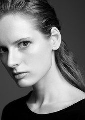 Model test with young beautiful fashion model