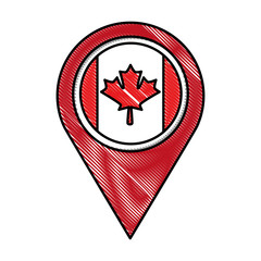 pointer map with canadian flag vector illustration drawing color