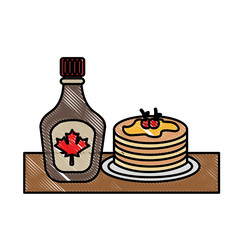 pancake and bottle syrup maple delicious vector illustration drawing color