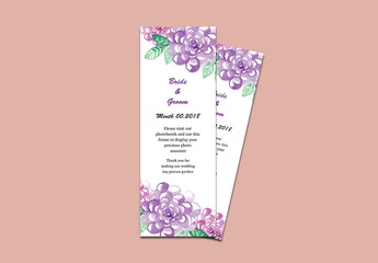 Photo Booth Place Card Layout with Purple Flowers