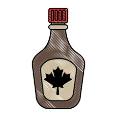 bottle syrup maple sweet image vector illustration drawing color