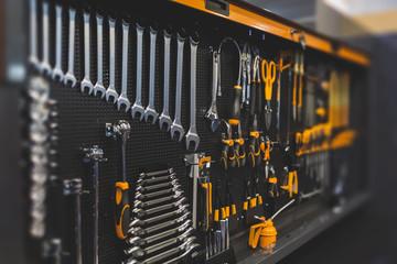 Work tools in a modern wall organizer