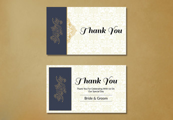 Wedding Thank You Card Layout with Yellow Ornamental Elements