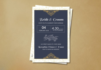 Wedding Invitation Card Layout with Yellow Ornamental Elements