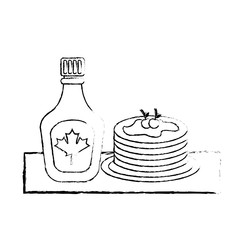 pancake and bottle syrup maple delicious vector illustration sketch