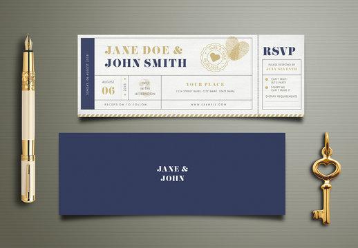 Art Deco Wedding Invitation Ticket