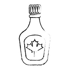 bottle syrup maple sweet image vector illustration sketch