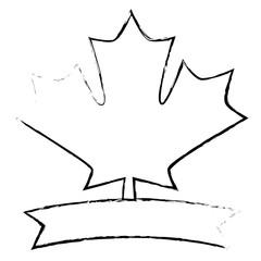 maple leaf canadian emblem banner vector illustration sketch