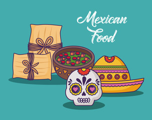 Infographic design of mexican food with related icons over turquoise background, colorful design. vector illustration