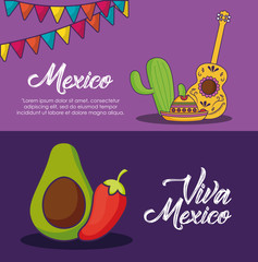 Infographic of viva mexico concept with guitar and over purple background, colorful design. vector illustration