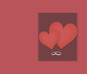 two red hearts big and small on a background of a dark cherry rectangle and wedding rings with a shadow red card
