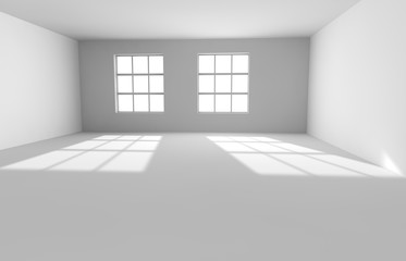 Empty white room with the lighted window