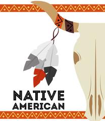 native american buffalo skull horn feathers card vector illustration