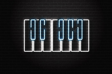 Vector realistic isolated neon sign of piano for decoration and covering on the wall background. Concept of music, dj and live concert.