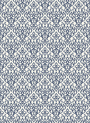 Woodblock printed indigo dye seamless ethnic floral damask pattern. Traditional oriental ornament of India Kashmir, geometric leaves and flowers ogee, navy blue on ecru background. Textile design.