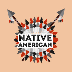 native american spears crossed and feathers ornament vector illustration