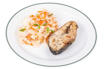 Fish fried, cabbage sauerkraut, lunch