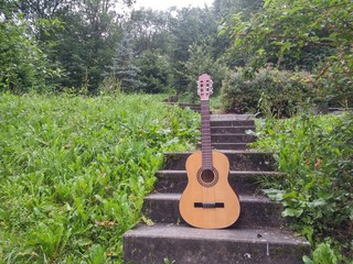 Classical acoustic guitar in nature