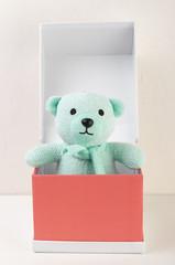 bear toy in a red cardboard box