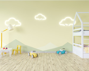 Room interior with a crib, cloud shaped lamps and a toy. Blue walls. Concept of minimalism. 3d rendering. Mock up. illustration
