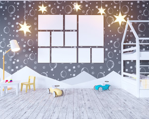Mock up poster children's color room, with light bulbs. 3d illustration studio,  template,  up,  wall,  white