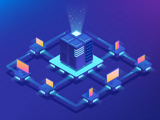 Cryptocurrency and Blockchain concept. Farm for mining bitcoins. Isometric vector illustration