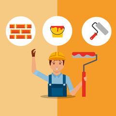 construction painter holding paint roller color bucket bricks tools vector illustration