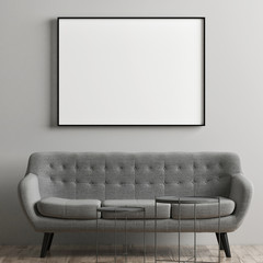 Mock up poster with comfortable gray sofa, 3d render, 3d illustration