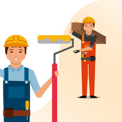 construction workers painter with paint roller and carpenter holding boards tools vector illustration