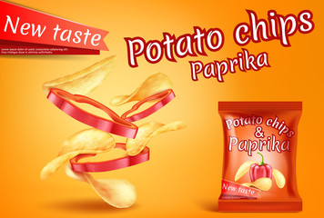 Vector promotion banner with realistic potato chips and paprika slices. Fast food with hot pepper, foil package with crispy salted snacks on orange background. Mockup for brand ad, packaging design
