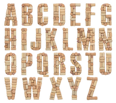 Alphabet letter made of wine corks isolated on white background, A through Z