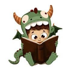 Niño disfrazado de dragón leyendo un libro en Sant Jordi