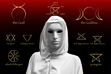 priestess of red magic, sorcerers with magical mask occult Masonic Lodge. Golden Set of Witches runes, wiccan divination symbols. Ancient occult symbols