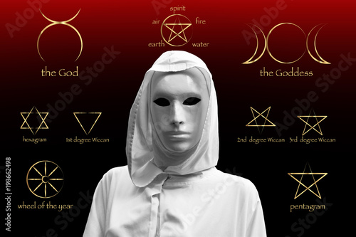 priestess of red magic, sorcerers with magical mask occult