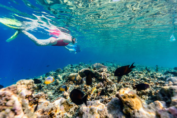 Spoed Foto op Canvas Koraalriffen Woman snorkeling