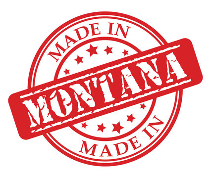 Made in Montana red rubber stamp illustration vector on white background