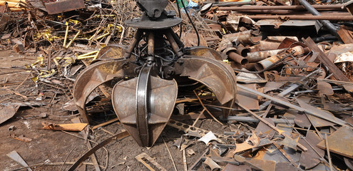 Scrap metal pile junk yard waste machine for sorting recycling environment