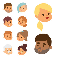 Eemotion vector people faces cartoon emotions avatar illustration. Woman and man emoji face icons and emoji face cute symbols. Human people emoji face happy emoji facial character symbols