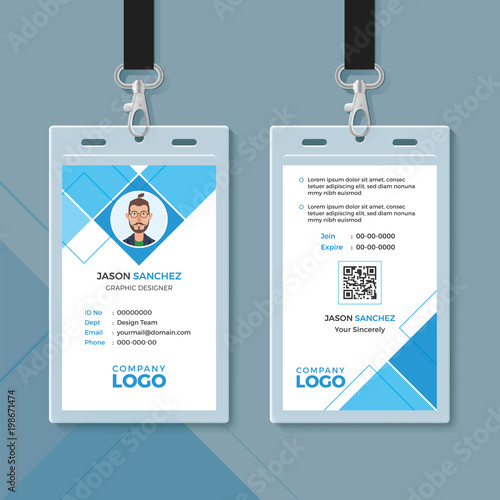 simple blue geometric id card design template stock image and